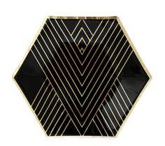 Black Hexagon Small Party Plates