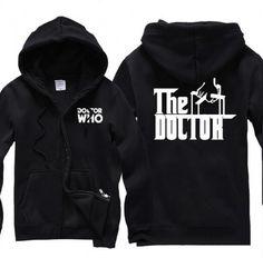 Doctor Who hoodie with zipper fleece hooded sweatshirts for winter