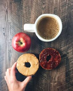pb&j on a whole wheat bagel with an apple and coffee. happy friday all
