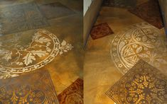Decorative concrete and stencils can create a design concept of scattered, layered tile pattern over an acid stained floor