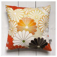 """Autumn Ivory, yellow and gold Retro Vintage Kimono Fabric Cushion Pillow 'Yellow Chrysanthemums' (1960's - 12"""" x 12"""")"""