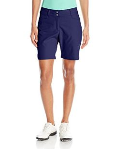 adidas Golf Women Essentials Shorts Night Sky Size 8  Stretch-woven, pull-on Bermuda for sleek silhouette – Slim fit for athletic movement – Power mesh at inner waistband for added comfort and flattering fit – adidas brand mark metal tab above the back, right pocket, Fabric Type:90% Polyester, 10% Elastane         adidas Golf Women Essentials Shorts Night Sky Size 8 Features   Stretch-woven, pull-on Bermuda for sleek silhouette  Slim fit for athletic movement  Power mesh at inn..