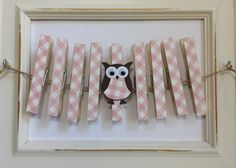 Clothespin Clothesline Photo Hanging Kit Owl Pretty in Pink Baby Girl FREE SHIPPING