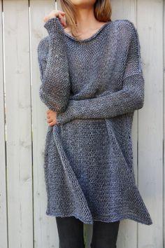 83744909e Alpaca Oversized women sweater. Chunky knit sweater. Slouchy  bulky knit  sweater. Thumb holes sweater. Etsy. StrickenFrauHandgestrickte PulloverLose  ...