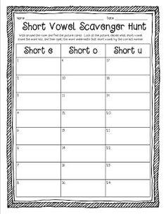 Simply SWEET TEAching: Short Vowel Word Work FREEBIE (Short e, o, & u)