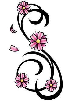 Pink and Black Cherry Blossom Swirl Temporary Tattoo