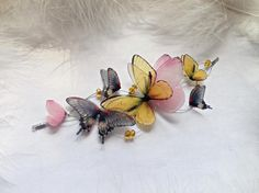 Items similar to Necklace Butterfly Garden of Silk Butterfly Wings, Butterfly necklace with wings, Butterflies necklace, Bridal Wedding Boho Chic Adornments on Etsy Butterfly Bracelet, Butterfly Jewelry, Recycled Dress, Fashion Accessories, Fashion Jewelry, Fairy Costumes, Jewelry Design, Unique Jewelry, Bridal Gifts