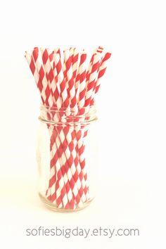 RED STRIPE Straws Party Straws Christmas by SofiesBigDay on Etsy, $4.00