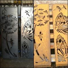 Corten steel metal art before and after rusting. Panels handcrafted by Inge Giebeler, using a plasma cutter