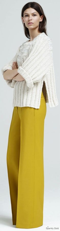 Adam Lippes Resot 2016. White knitted sweater yellow pants.  women fashion outfit clothing style apparel @roressclothes closet ideas