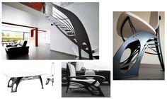 Collection d'escalier design, de fauteuil contemporain, de chaise et de table design du studio La Stylique. L'enchevêtrement de métal, de bois laqué et de cuir est d'inspiration Art Nouveau, le tout stylisé par l'auteur: Jean Luc Chevallier.