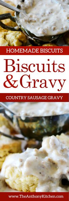 Breakfast Idea   Easy Homemade Biscuits and Gravy   An easy recipe for perfect homemade biscuits topped with Southern sausage gravy   #homemadebiscuits #sawmillgravy #breakfastidea #brunchrecipes