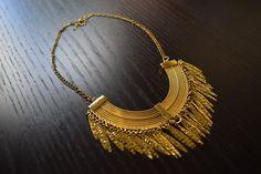 Unique Gold Statement Necklace - Choker Necklace, Collar Necklace, Chokers, Bohemian Necklace, Chunky Necklaces, Gold Necklaces