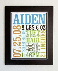 Featured on Apartment Therapy Ohdeedoh:  http://www.ohdeedoh.com/ohdeedoh/roundup/roundup-baby-birth-posters-090081    Celebrate every detail of your