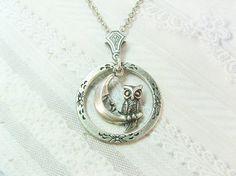 Silver  Necklace - Silver NIGHT OWL -  Owl Necklace - ORIGINAL Jewelry by BirdzNbeez - Wedding Birthday Bridesmaids Gift on Etsy, $22.00
