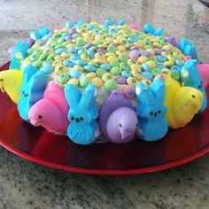Carrot cake with cream cheese icing. Chicken and bunny peeps with pastel M
