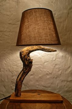 This cute wooden log lamp with warm light, made from piece of the willow tree with the unique painting on it made by hand. This lamp is perfect gift for housewa Driftwood Lamp, Wood Lamps, Lampe Decoration, Rustic Cottage, Lamp Design, Design Design, Design Ideas, Wood Art, Floor Lamp