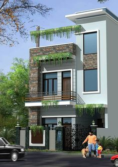 Construction / civil work: houses by s. buildtech – the gharexperts Asian houses photos: construction / civil work 2 Storey House Design, Duplex House Design, House Front Design, Small House Design, Modern House Design, Modern House Plans, Independent House, Front Elevation Designs, House Elevation