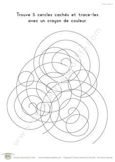 Dans les fiches de travail « Formes cachées » l'élève doit trouver 5 formes cachées et les surligner. Les formes existent de partout dans notre environnement et la capacité à identifier les formes courantes est une aptitude importante. Ces fiches de travail renforcent le processus d'apprentissage en combinant deux sens : la vision (rechercher des formes données parmi d'autres) et le toucher (tracer le contour des formes).