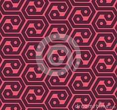 Seamless abstract retro pattern from geometric hexagonal shapes in magenta and purple colors. Suitable for web, print, wallpaper, gift wrapping, home decor, fashion, invitation background, textile design. Layered EPS8 vector file for easy manipulation and coloring.