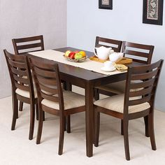 Elmwood Texas Dining Table With Six Chairs - FabFurnish.com