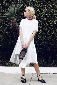 Warm days call for a refreshing white dress. Adding a scarf and statement flats into the mix makes the simple look that much better. On Mary Seng: Simone Rocha Tiered Tulle Dress ($330); Isabel...