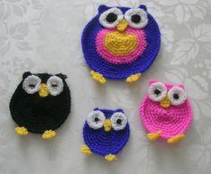 Cute crocheted owls applications... Niedliche gehäkelten Eulen Applikation...  Sevimli tığ işi baykuş aplikasyonlar */* hand craft*/* Hippie - Bohemian - shabby - design