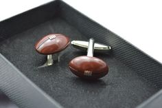 Brown Rugby Balls Sports Cufflinks. Personalised by davesdisco, 14.95