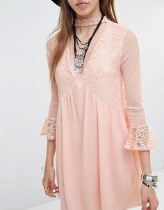 Rokoko | Rokoko Lace Insert Smock Dress With Choker Detail at ASOS