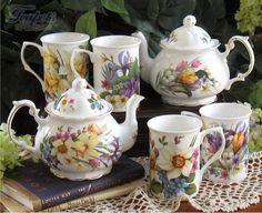 Spring Garden Bone China Teapot Mug Set (google)