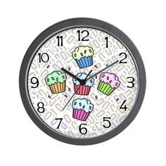 CafePress - Cupcake Wall Clock - Unique Decorative 10' Wall Clock >>> More info could be found at the image url. (This is an affiliate link) #Clocks