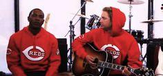 """Bronson Arroyo and Aroldis Chapman doing """"Reds Hooded Sweatshirt"""""""