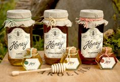 Honey packaging - Unique Honey Label and Packaging Designs – Honey packaging Honey Packaging, Jar Packaging, Packaging Design, Honey Jar Labels, Honey Label, Honey Jars, Honey Store, Honey And Clover, Honey Bottles