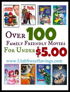 Over 100 Family Friendly Movies for Under $5.00!