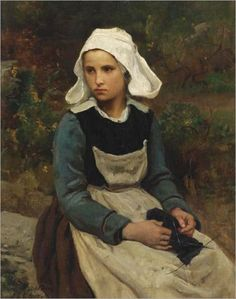 """Joven muchacha de Bretaña tejiendo""   -    ""Young Brittany girl knitting"" Óleo sobre lienzo  Jules Adolphe (Adolphe Aime Louis)  Breton  (1827-1906) Artista francés de Courriéres, Villa al norte de Francia.    -(Brittany > Bretaña - Costa francesa)"