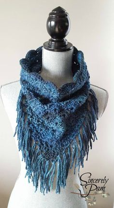 Shelby Triangle Cowl crochet pattern featuring Red Heart Yarns Boutique Midnight! Pattern by Sincerely Pam (Pam Dajczak 2015)