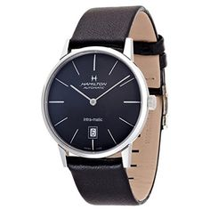 Men's Wrist Watches - Hamilton IntraMatic Black Dial Leather Mens Watch H38455731 *** Check out this great product. (This is an Amazon affiliate link)