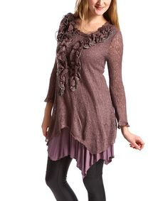This Mauve Ruffle Linen-Blend Top - Women by Pretty Angel is perfect! #zulilyfinds