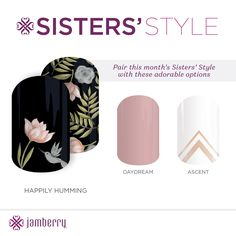 Whos got their hands on this months Sister Style? With which would you pair it? I choose Daydream! Swag Nails, Fun Nails, Nail Designs 2017, Contrast Lighting, St Style, Jamberry Nail Wraps, Fabulous Nails, Nail Care, Daydream