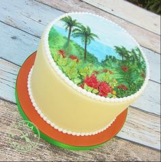 Maui Garden of Eden cake, hand painted, relief details piped in Royal Icing.