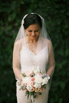 Pretty fingertip veil by One World Designs Bridal Jewelry