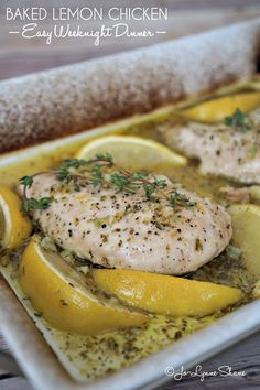 This baked lemon chicken is the perfect easy recipe for a weeknight dinner, and yet it is so pretty and delicious, you could easily serve it to company. Get this recipe and more at jolynneshane.com.