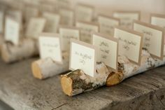 Tree branches as place card holders