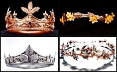 The absolutely exquisite crowns of High King Peter, Queen Susan, King Edmund, and Queen Lucy of Narnia!!! <3 I want my wedding crown to take inspiration from the delicate beauty of Susan and Lucy's. :)
