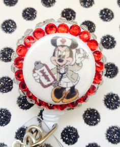 Minnie Mouse Nurse Retractable Badge Reel by ForTheLovetlc, $12.00