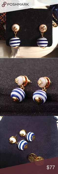 NWOT 💯% Auth Tory Burch Blue/White Drop earrings NWOT 💯% Authentic Tory Burch Logo Drop Blue & White Stripped Earrings in yellow golden brass. Double T logos on simulated glass pearls, stripped resin drops. Post backs with Tory Burch logo on each one for pierced ears 🔴HARD TO FIND🔴 Brand new but I have seen them on and they are gorgeous! Pictures don't do these earrings justice! 🚫TRADES 🚫LOWBALLING. If you have any questions or would like additional pics please feel free to ask 😊 Tory…