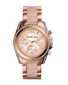 Michael Kors Mid-Size Rose Golden Stainless Steel Blair Chronograph Glitz Watch.