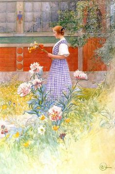 """""""Lisbeth and Peonies"""" by Carl Larrson"""