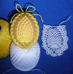 Crochet Stone, Crochet Art, Thread Crochet, Easter Egg Pattern, Easter Crochet Patterns, Easter Projects, Easter Crafts, Pineapple Crochet, Diy Ostern