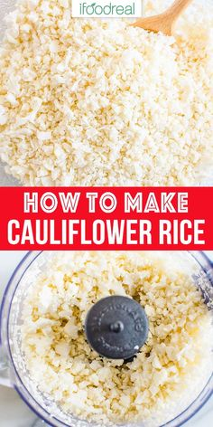 How to Make Cauliflower Rice at home using a food processor, grater or knife. Homemade cauliflower rice is easy, cheap and lasts well for months to come. You can cook it from frozen! How To Cook Cauliflower, Frozen Cauliflower Rice, Ninja Food Processor, Food Processor Recipes, Food Processor Uses, Low Carb Recipes, Cooking Recipes, Healthy Recipes, Lunch Recipes